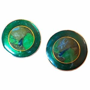 Vintage Green Swirl Enamel Clip On Earrings